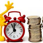 Cartoon clock and a pile of coins