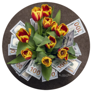 Flowers and money - beauty and wealth