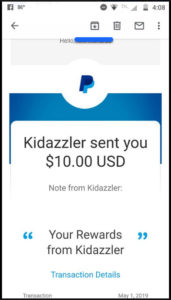 Kidazzler Payment Confirmation received by a member on May 1, 2019