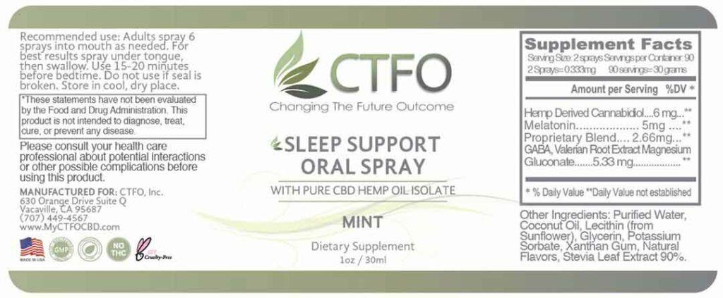 3 Natural Sleep Aids That Work -- CTFO Sleep Support Oral Spray label