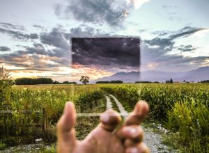 Transparency - landscape through a clear glass