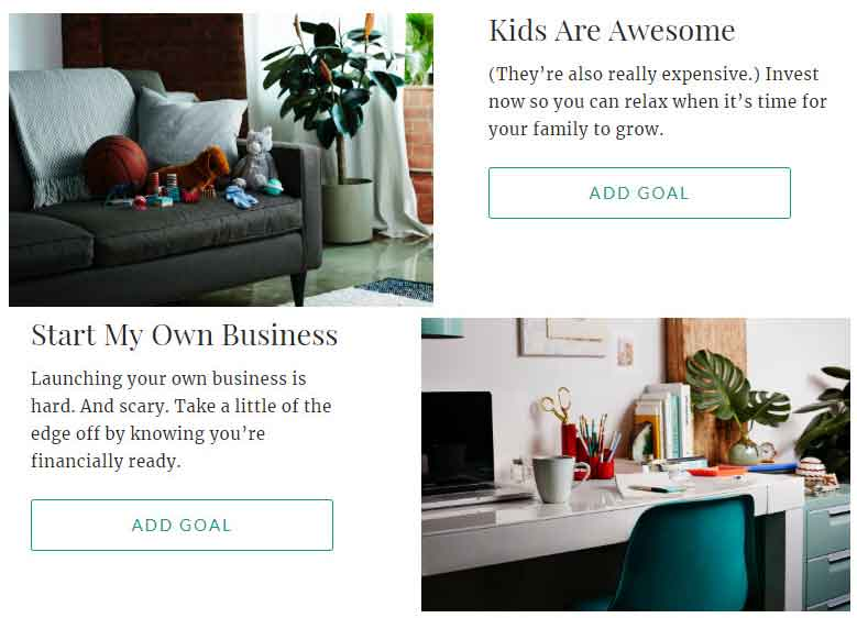 Ellevest Investment Goals: Kids Are Awesome and Start My Own Business