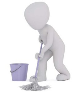 First low-skilled work. Janitor.