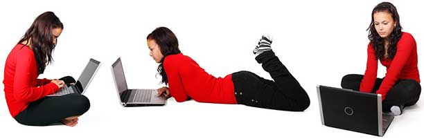 Working from home on a computer doesn't have to be a pain in the neck -- change your position every 45 minutes.