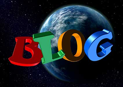 The word Blog In colorful letters flying around the Earth