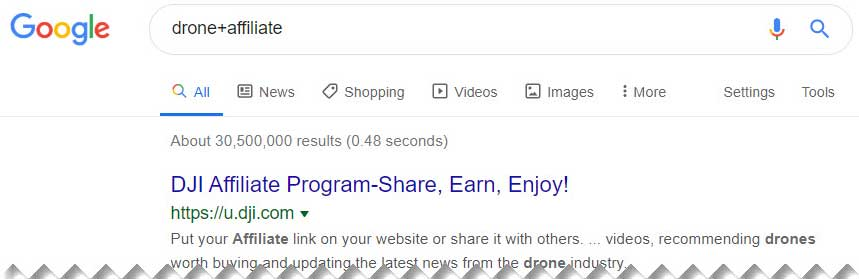 Google Affiliate Program - drone + affiliate example