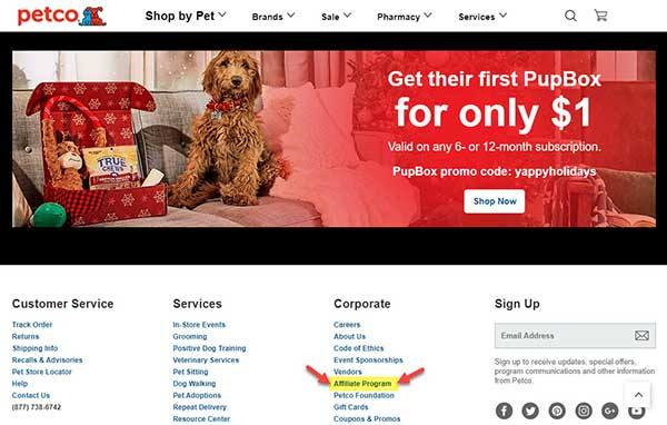 Petco Home Page - Affiliate Program in the Footer Menu