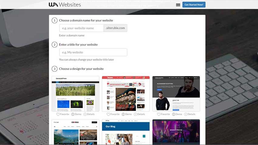 Create a website in WordPress - WA Site Builder Entrance Screen.