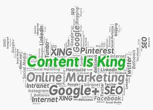 Google, SEO, Online Marketing and other related words are written in a grey scale in a shape of a crown. Content Is Kind takes central position in a bigger font size and green color.