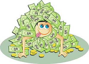Cartoon of a guy in a pile of cash.