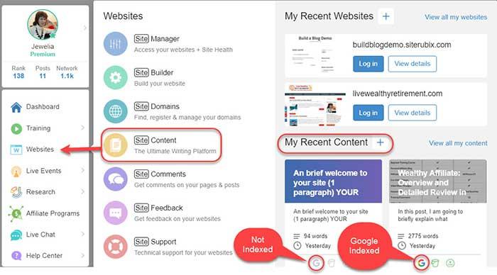 Wealthy Affiliate menu: accessing SiteContent platform.