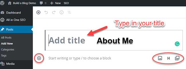 New Post - typing in the title, showing block types icons.
