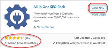 All in One SEO Pack - Install page