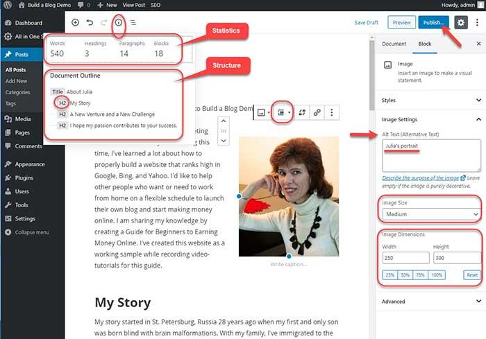 WordPress Gutenberg editor: Image properties and statistics.