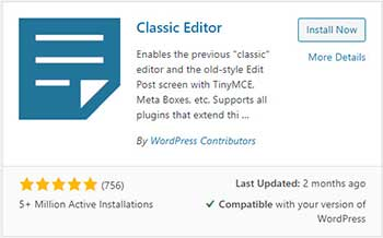 WordPress thumbnail for the Classic Editor plugin - Install Now