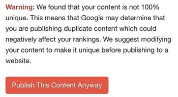 Wealthy Affiliate SiteContent platform: Duplicate Content Warning
