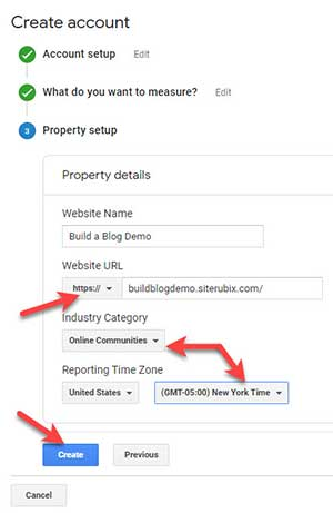 Google Analytics Create Account - Property Setup form