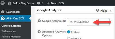 Google Analytics ID field in WordPress All in One SEO plugin settings