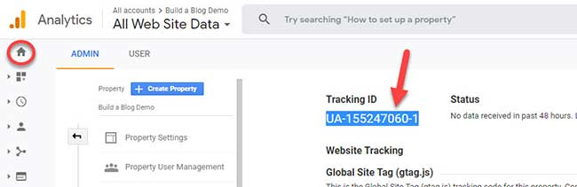 Google Analytics Tracking ID screenshot