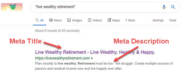 "Google Search Results Page (SERP) for ""live wealthy retirement"" showing meta title and meta description."