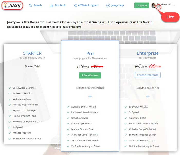 The screenshot of Jaaxy versions with included features and prices.