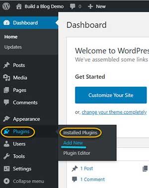 WrdPress Plugins Menu: Installed Plugins and Add New