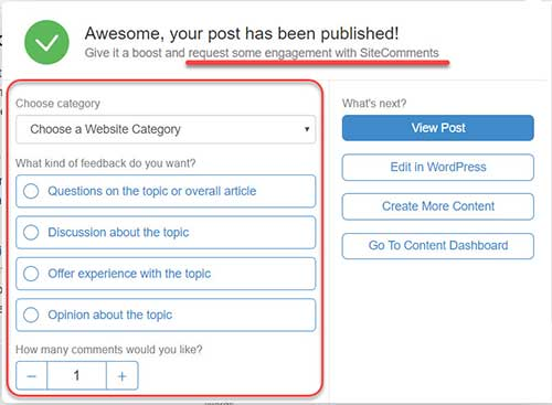 The pop-up window in the SiteContent environment after publishing your article.
