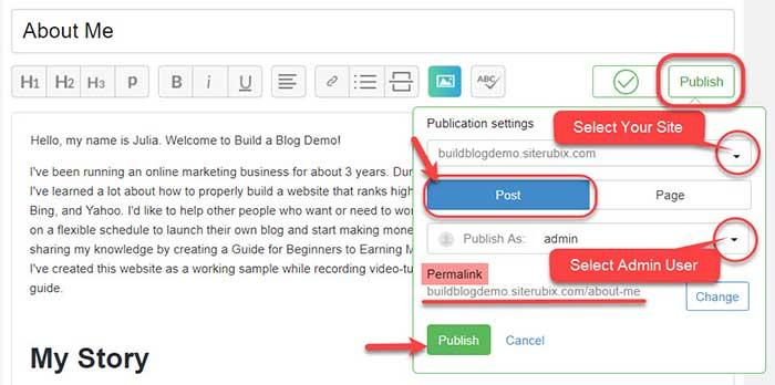 Wealthy Affiliate SiteContent platform: Publish Post dialog box