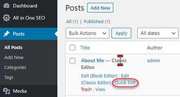 WordPress Post Quick Edit Menu