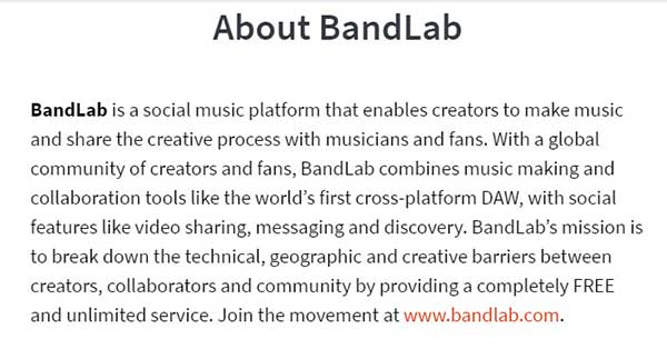 "Screenshot of the ""About BandLab"" brand."