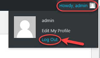 Admin Log Out menu