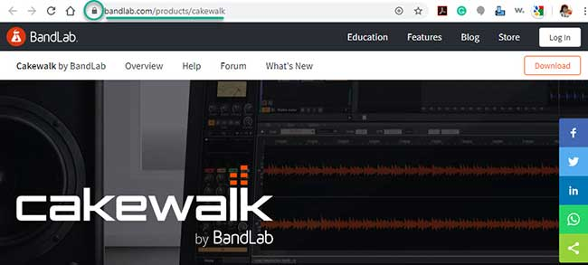 Screenshot of the new page for the Cakewalk product branded under BandLab.