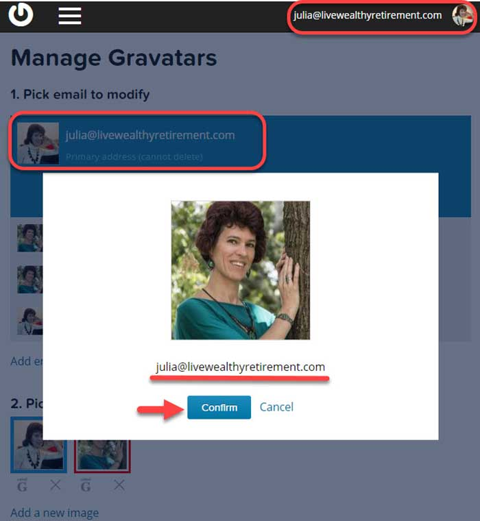 Manage Gravatar: changing email-image association.