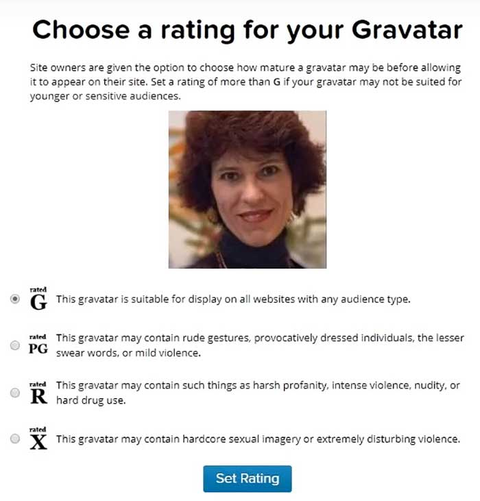 Gravatar rating page.