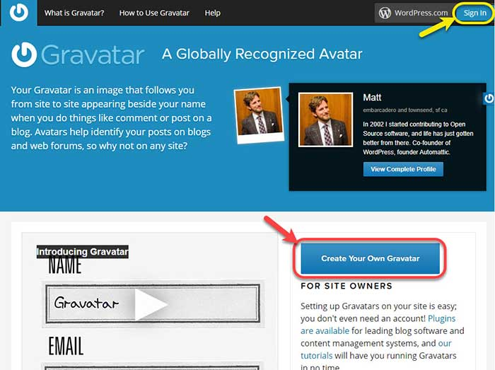 "Gravatar Homepage - ""Create Your Own Gravatar"" and ""Sign In"" buttons"