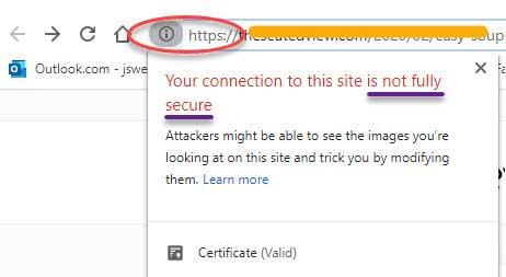 Screenshot from Google Chrome of a warning regarding mixed content.