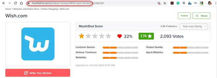 Screenshot of customer reviews from the mouthshut.com site.