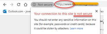 Screenshot from Google Chrome on  not secure website.