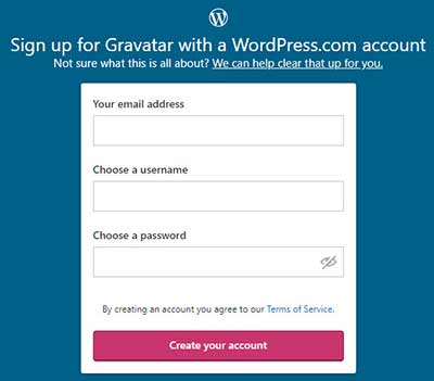Gravatar Sign Up Page and Create Your Account button.