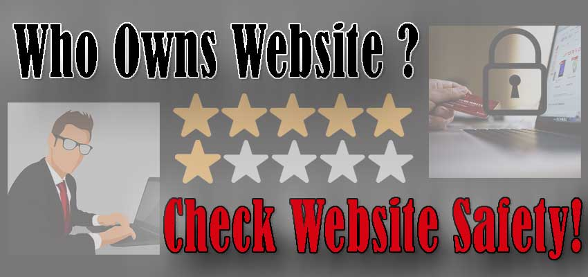 "Banner Image. Text: ""Who Owns Website?. Check Website Safety!"" Background: a man in a suit using a laptop on the left; credit card use on the computer with a symbolic lock - on the right; 5-star and 1-star rating in the center."