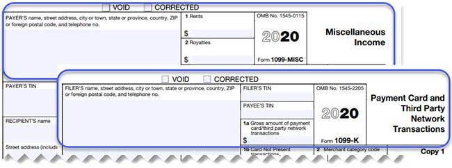 Sole Proprietorship Taxes - Headers of tax forms 1099-MISC and 1099-K