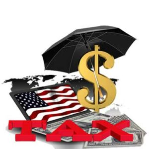 """Graphics: Laptop with cash on its keyboard and the USA flag of the screen. The word """"Tax"""" is in the foreground and a dollar sign under an umbrella."""