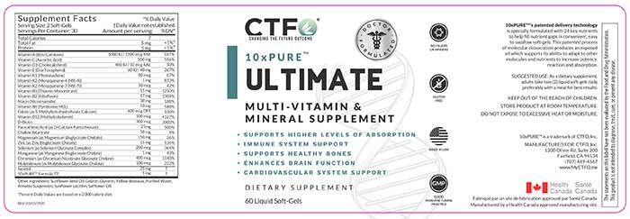 CTFO 10xPure Ultimate Multi-Vitamin and Mineral Supplement label.