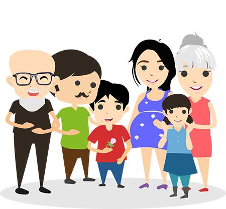 WFG clients - Happy Family Illustration