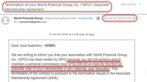 AMA Termination email from WFG