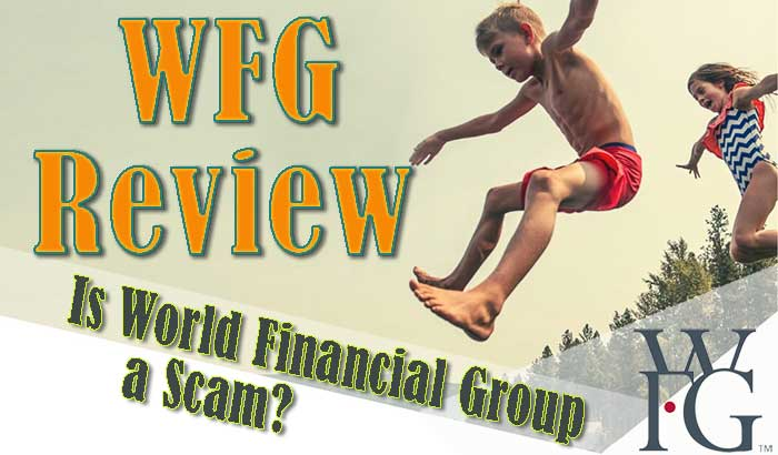 Header Image with happy kids jumping in swimsuits. Text: WFG review. Is World Financial Group a Scam?