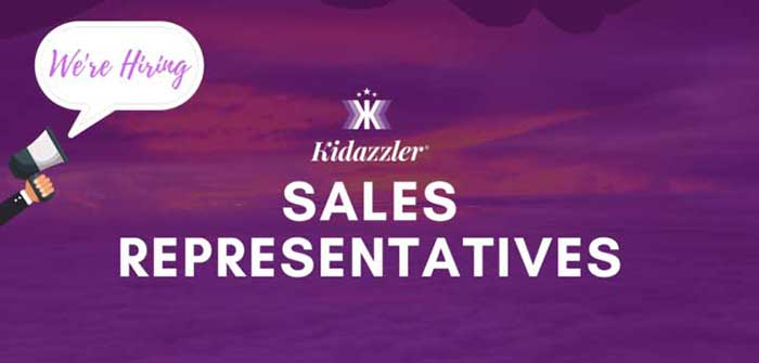 Announcement banner: Kidazzler hires Independent Sales Representatives.